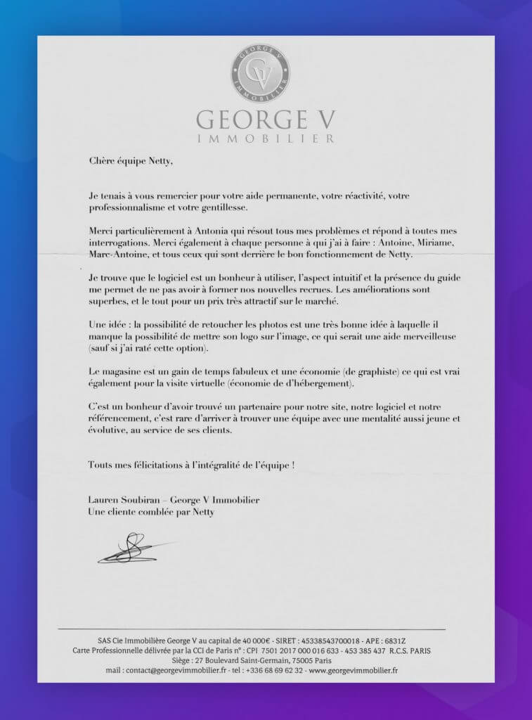 lettre George V immobilier