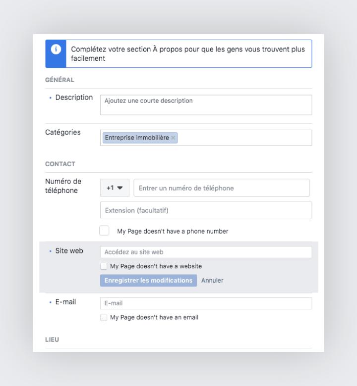 Enjoliver la page entreprise sur facebook